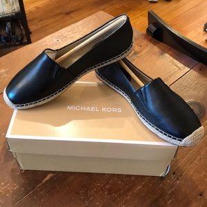 New Michael Kors Slip on Black Leather Espadrille